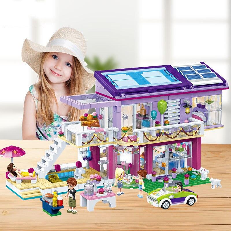 QWZ yeni şehir kız arkadaşlar serisi yapı taşları Modern rüya prenses kız dükkanı seti eğitim tuğla oyuncaklar çocuk hediyeler için