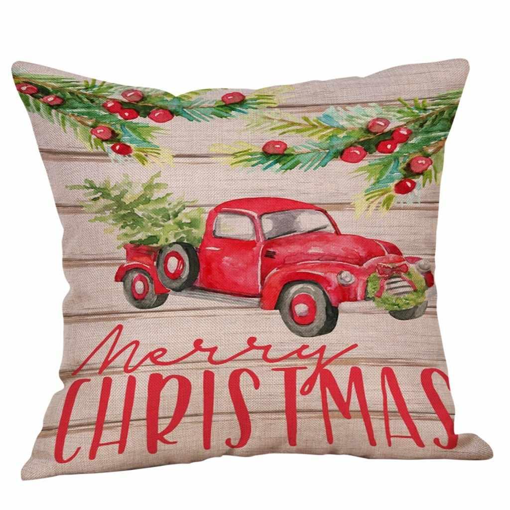 Chúc Giáng Sinh Gối Cotton Linen Ghế Sofa Đệm Trang Trí Nhà Ném Gối Housse De Coussin Cojines Vỏ Gối