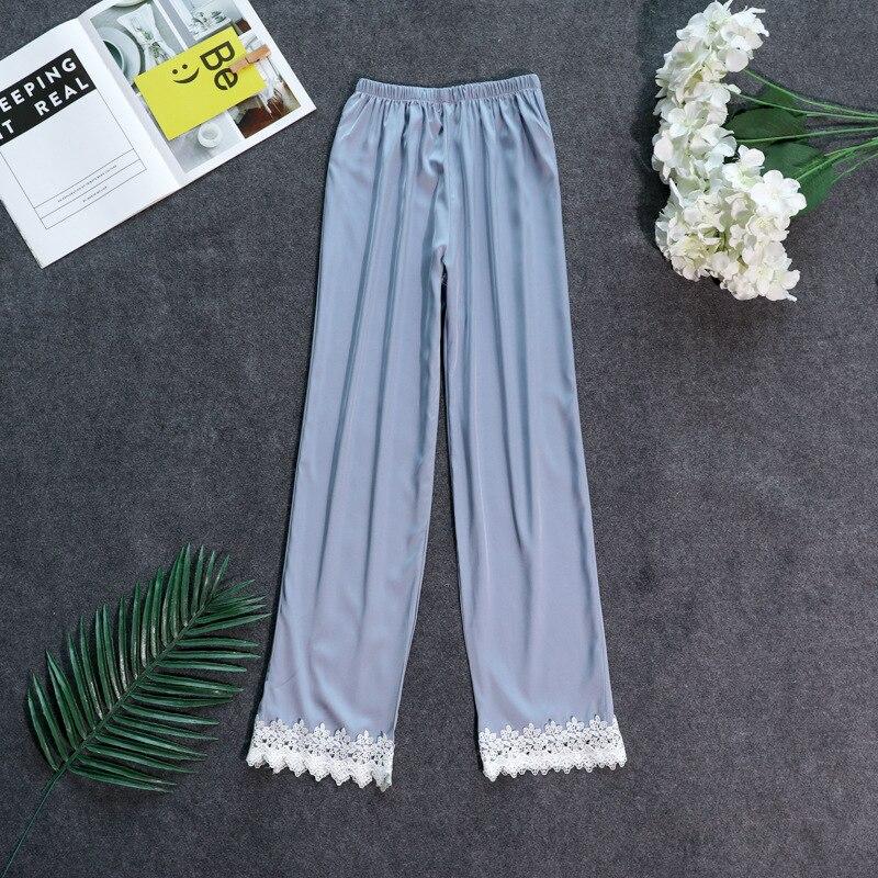 Осенние женские атласные пижамные штаны Свободные повседневные пижамы одежда для сна штаны для отдыха домашняя одежда - Цвет: gray C