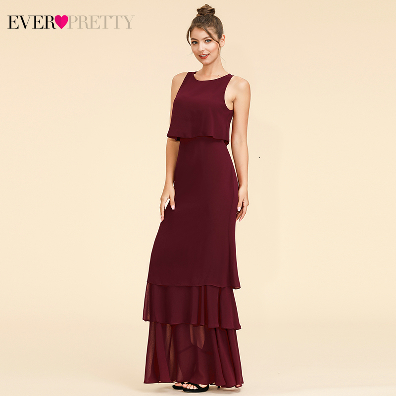 Elegant Two Pieces Bridesmaid Dresses Ever Pretty EP07173 O-Neck Ruffles Layer Simple Chiffon Dress For Wedding Party Sukienki