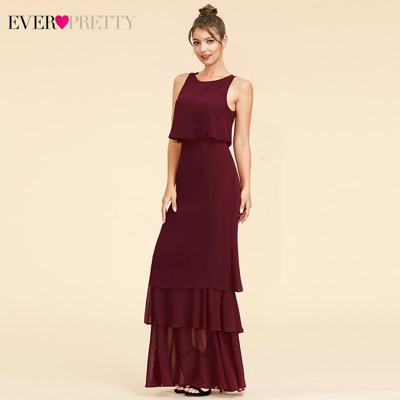 Elegant Two Pieces Bridesmaid Dresses Ever Pretty EP07173 O-Neck Ruffles Layer Simple Chiffon Dress For Wedding Party Sukienki