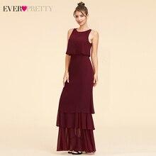 فستان أنيق من قطعتين لوصيفات العروس من Ever Pretty EP07173 ذو رقبة دائرية من الكشكشة من الشيفون البسيط لحفلات الزفاف Sukienki