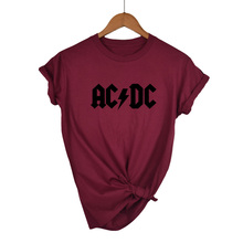 AC/DC Band Rock T-Shirt Women's ACDC Letter Printed Graphic Tshirts Hip Hop Rap Music Short Sleeve