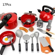 1Set Kitchen Utensils Tools Cooking Pots Pans Food Dishes Cookware Toy for Kids Children Play House Pretend Toys-random color