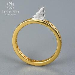 Lotus Fun-anneaux en argent Sterling 925 pour femmes, en or 18K, Bijoux fins faits à la main, créatifs, anneaux de Design d'arbre de route pour femmes