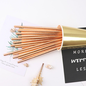 Image 3 - 25pcs Foil Gold Rose Gold Silver Paper Straws Wedding Favors Party Drinking Straws Birthday Party Decoration Kids Party Supplies