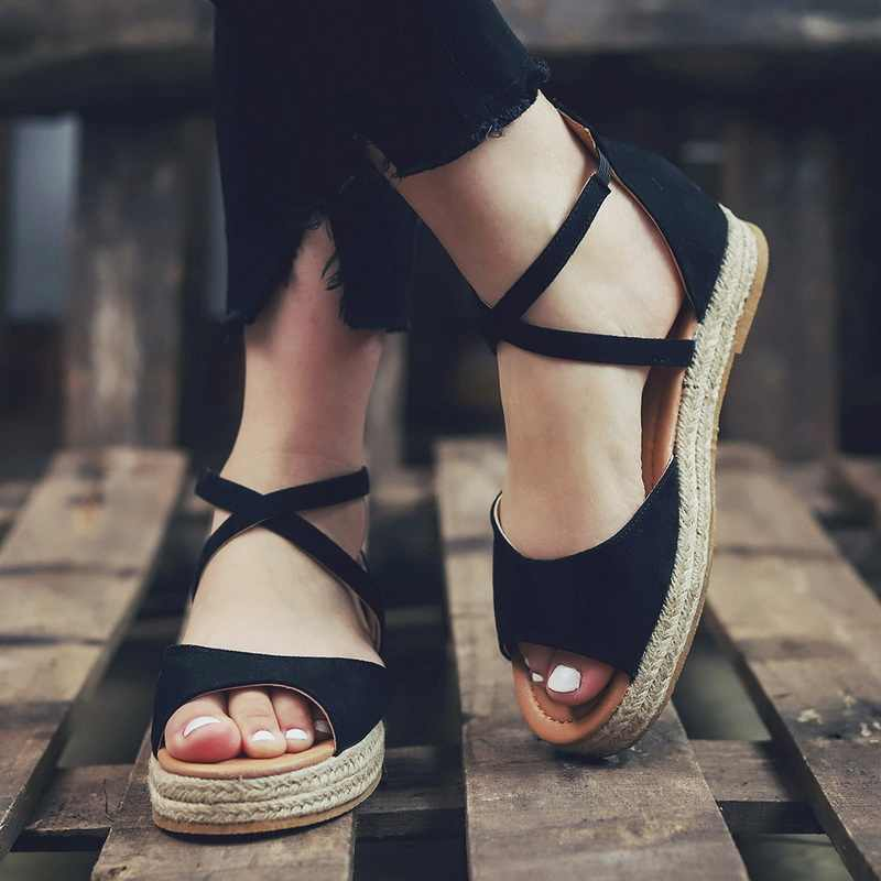 Kadın sandalet kadın kenevir Zip düz platformu bayanlar rahat çapraz sapanlar plaj ayakkabıları kadın Peep Toe yaz kadın artı boyutu 43