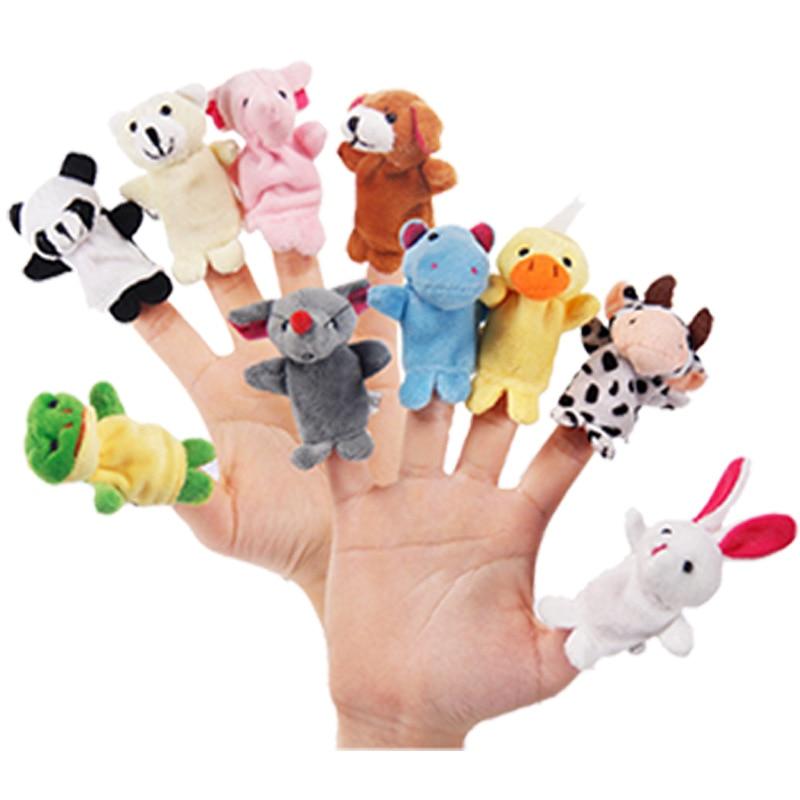 10PCS Christmas Birthday Gift Cute Cartoon Biological Animal Finger Puppet Plush Toys Child Baby Favor Dolls Toys For Children