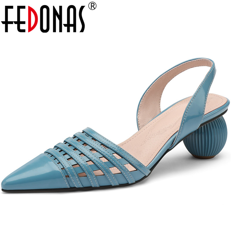 FEDONAS New Women Pointed Toe Prom Party Famale Pumps Spring Summer Strange Heels Shoes Patent Leather Sweet Rome Shoes Woman