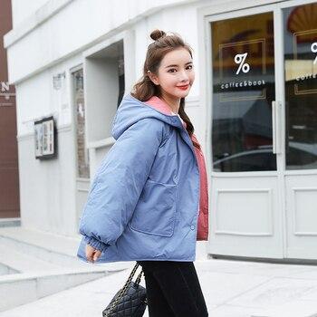Chaqueta holgada de Invierno 2020, con capucha, de algodón acolchado en ambos lados, se puede usar, Parkas de estilo coreano gruesas, prendas de vestir sólidas para Invierno para Mujer