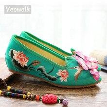 Veowalk 3D 꽃 수 놓은 여자의 지적 발가락 캔버스 발레 플랫 숙 녀 캐주얼 소프트 슬립 온 신발 Zapatos Mujer 민트 그린