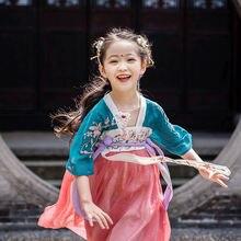 Летняя одежда для девочек hanfu платье детский костюм в китайском
