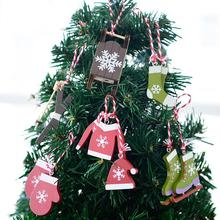 New Year Wooden Painted Christmas Ski Suit Set Pendant DIY Tree Hanging Ornament Xmas Party Decorations for Home 6pcs