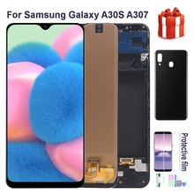 Original AMOLED A30S LCD For Samsung Galaxy A30S A307 A307F A307G A307Y Lcd Display Touch Screen Digitizer Assembly + back cover