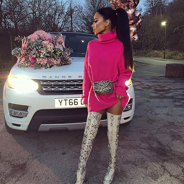 Fashion Turtleneck Oversized Sweater Winter Clothes Women Neon Green Pink Orange Pullover Ladies Knit Tops 8