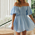 Sexy vintage Off-shoulder mini for women dress 2021 summer new lantern sleeve waist high waist mini dress female beach dress