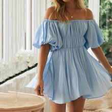 Sexy vintage Off-shoulder mini for women dress 2021 summer new lantern sleeve waist high waist mini dress female beach dress
