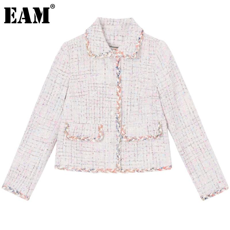 [EAM] Loose Fit Tweed Plaid Split Joint Short Jacket New Lapel Long Sleeve Women Coat Fashion Tide Spring Autumn 2020 1DA381 1