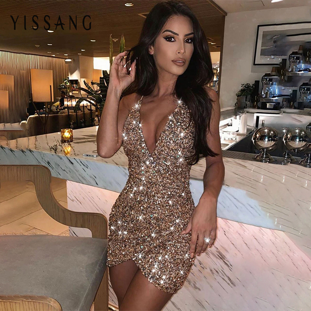 Yissang Sequined Club Party Dress Spahetti Strap Mini Summer Dress Backless Deep V-neck Wrap Bodycon Sexy Dresses 2019 Vestidos