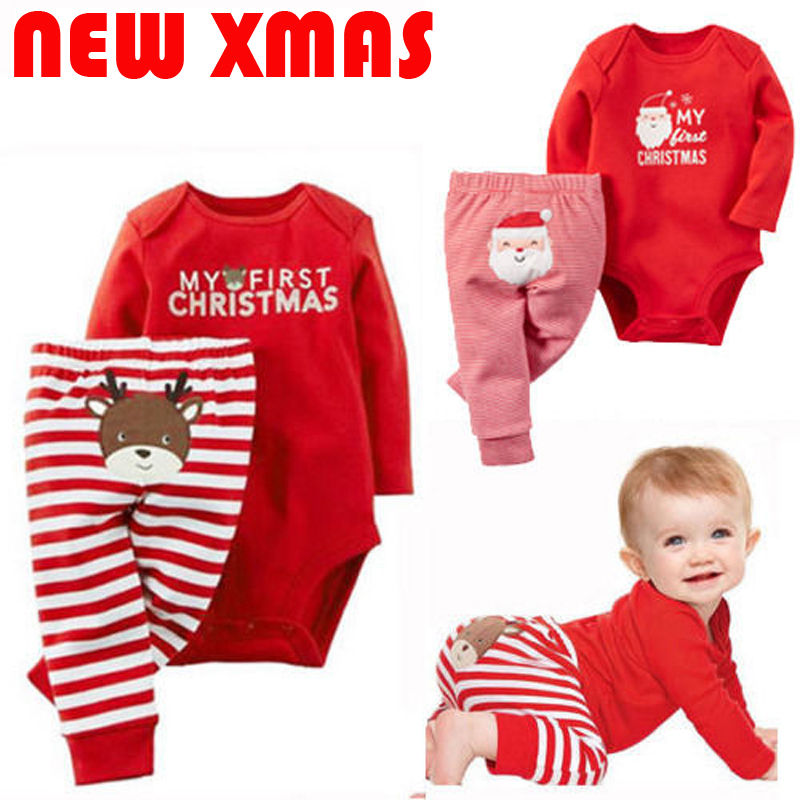 2018 Xmas Newborn Baby Boys Girls Christmas Romper Stripe Long Pants Clothes Outfits Set Red Overalls Infant Christmas Pajamas