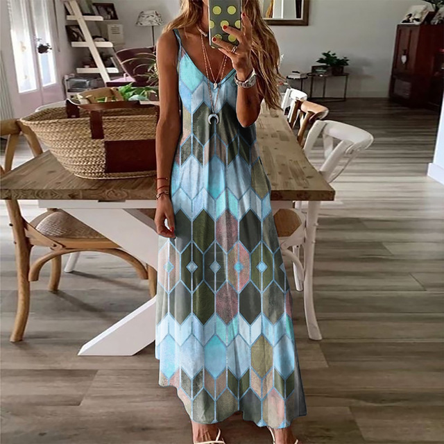 Summer Women Dresses Ladies V Neck Sleeveless Casual Printed Camisole Long Dress for Women 2021 Fashion Loose A-Line Dress 6