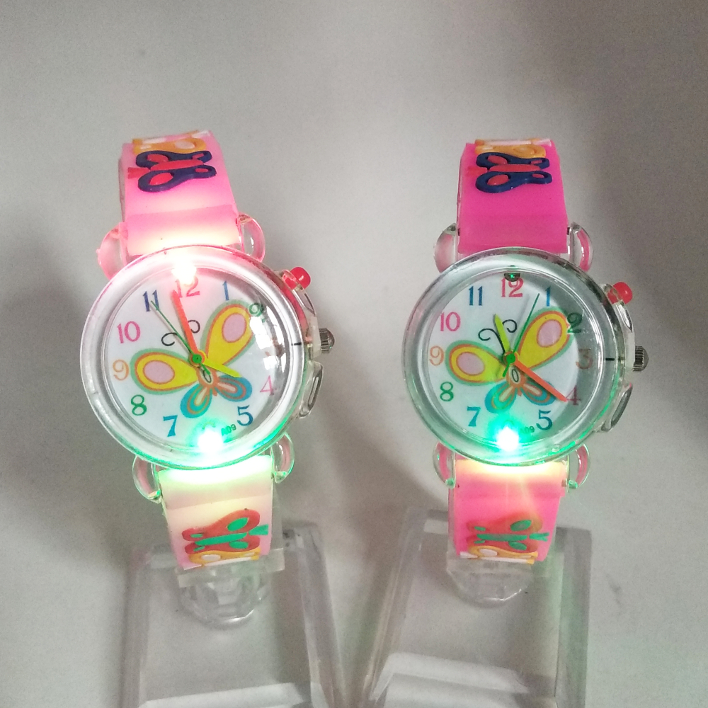 Colorful Flashing Glow Light Large Butterfly Dial Kids Watches Electronic Children Watch Girls Birthday Party Gift Boys Clock
