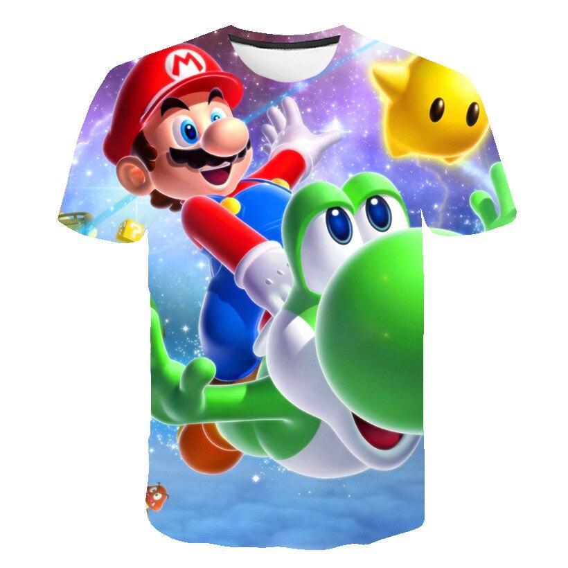 2020 Summer Mario Boys Clothes New Harajuku Style Classic Games Mario Bros 3D Print T-shirts Hip Hop Kids Clothes Street T-shirt