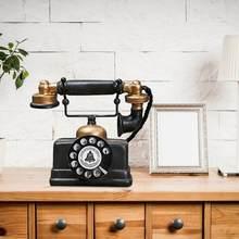 Estilo vintage telefone artificial modelo retro resina decoração para casa ornamento artesanato cores clássicas e design simples durável