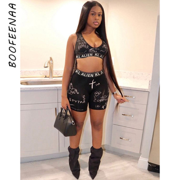 BOOFEENAA Sexy Black Two Piece Sweatsuit for Women Workout Crop Top and High Waisted Biker Shorts 2021 Summer Tracksuit C87-BC17 1