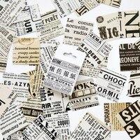 45 unids/caja Retro periódico inglés pegatinas decorativa de cosas viejas pegatinas diario pegatinas de la Oficina de la Escuela de papelería
