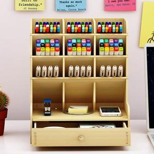 Image 2 - Sharkbang insigne de bureau en bois, porte crayon, articles divers, porte boîte de rangement, papeterie de bureau
