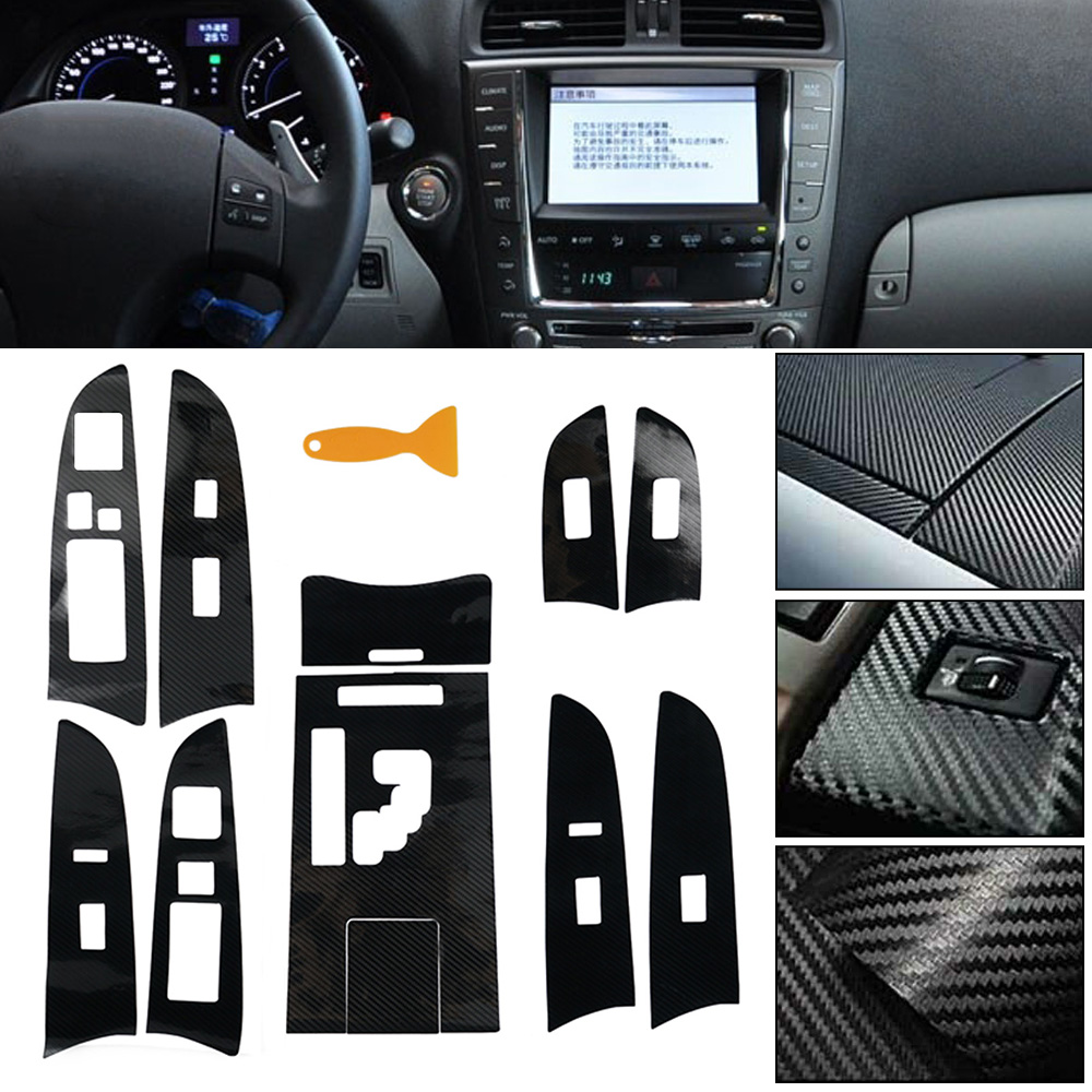 Car Interior Trim Center Console 5D Carbon Fiber Molding Sticker Decal For Lexus IS300 IS250 2006 2007 2008 2009 2010 2011