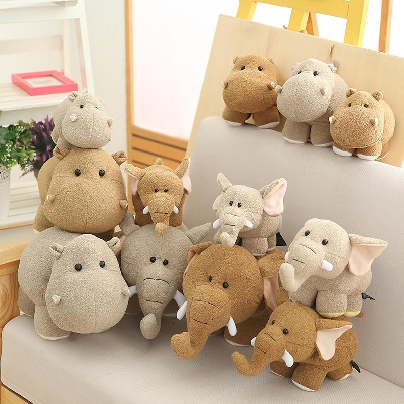 Mini Head Hippo Elephant Plush Toy Soft Cartoon Animal Hippopotamus Stuffed Doll Cute  Decoration Baby Children Christmas Gift