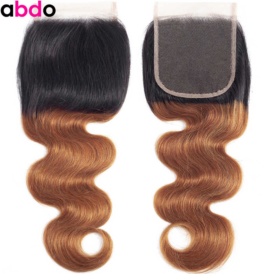Peruvian Ombre 1B/30 #2 #4 Closure Body Wave 4X4 Lace Closure Remy Human Hair Closure 8-22 Inch Free/Middle/Three Part Closure