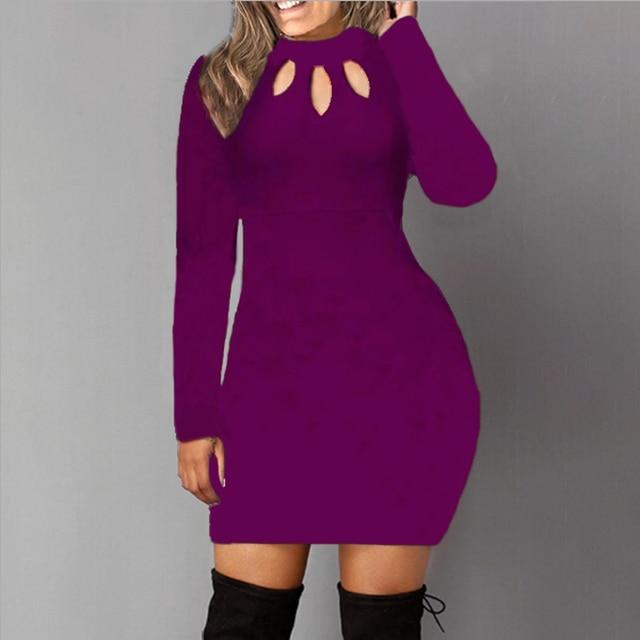 Bodycon Dress Women Long Sleeve Solid Color Dresses Spring Autumn Sexy Hollow Out Round Neck Black Mini Dress Cotton S M L 5XL 4