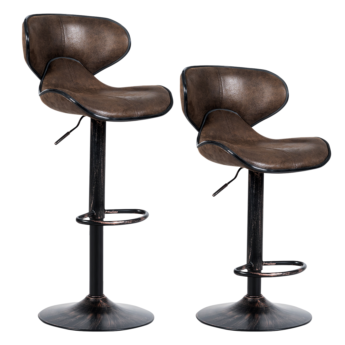Costway Set Of 2 Adjustable Bar Stools Swivel Bar Chairs With Back&Footrest Retro Brown
