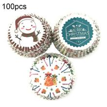 100Pcs Christmas Cap Snowman Print Cupcake Liners Wrapper Cake Baking Cup Tray Oil Proof Party Deco Cap Snowman Print Baking Cup skidproof christmas snowman print bath rug