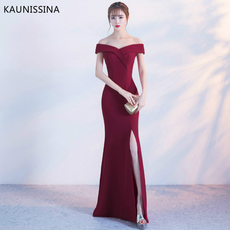 KAUNISSINA Off Shoulder Burgundy Evening Dress Mermaid Gown Women Wedding Party Dresses Prom Long Bridal Dress Robe De Soiree
