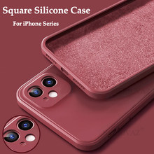 Capa para iphone 12 caso quadrado macio líquido silicone capa para iphone 12 11 pro max mini xr xs max x 7 8 plus se 2020 caso coque