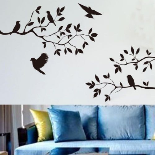 Fashion Wall Decor Art Vinyl Removable Decal Sticker Tree Branches Birds Black Color Wall Stickers
