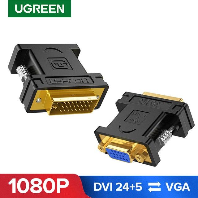 Ugreen VGA Adapter Điện DVI I 24 + 5 Nam Sang VGA Cho Cáp Kết Nối Bộ Chuyển Đổi Cho HDTV Máy Chiếu DVI to VGA