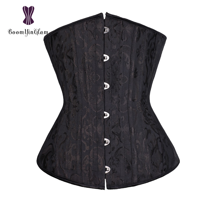 Plus Size Women Waist Cincher Shaper Hourglass Wasipe Underbust Corselet 26 Steel Boned Long Troso Corset With G String 2834#