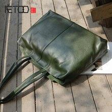 AETOO Handmade leather fashion shoulder bag, lady planting tanning cow bag handbag, female vintage mother