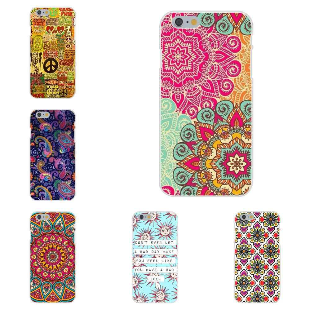 Para A Apple iPhone 4 4S 5 5C 5S SE 6 7 8 Plus X XS Max XR 6S Suave TPU Ultra Fino Trippy Hippie Boho Impressão Paz