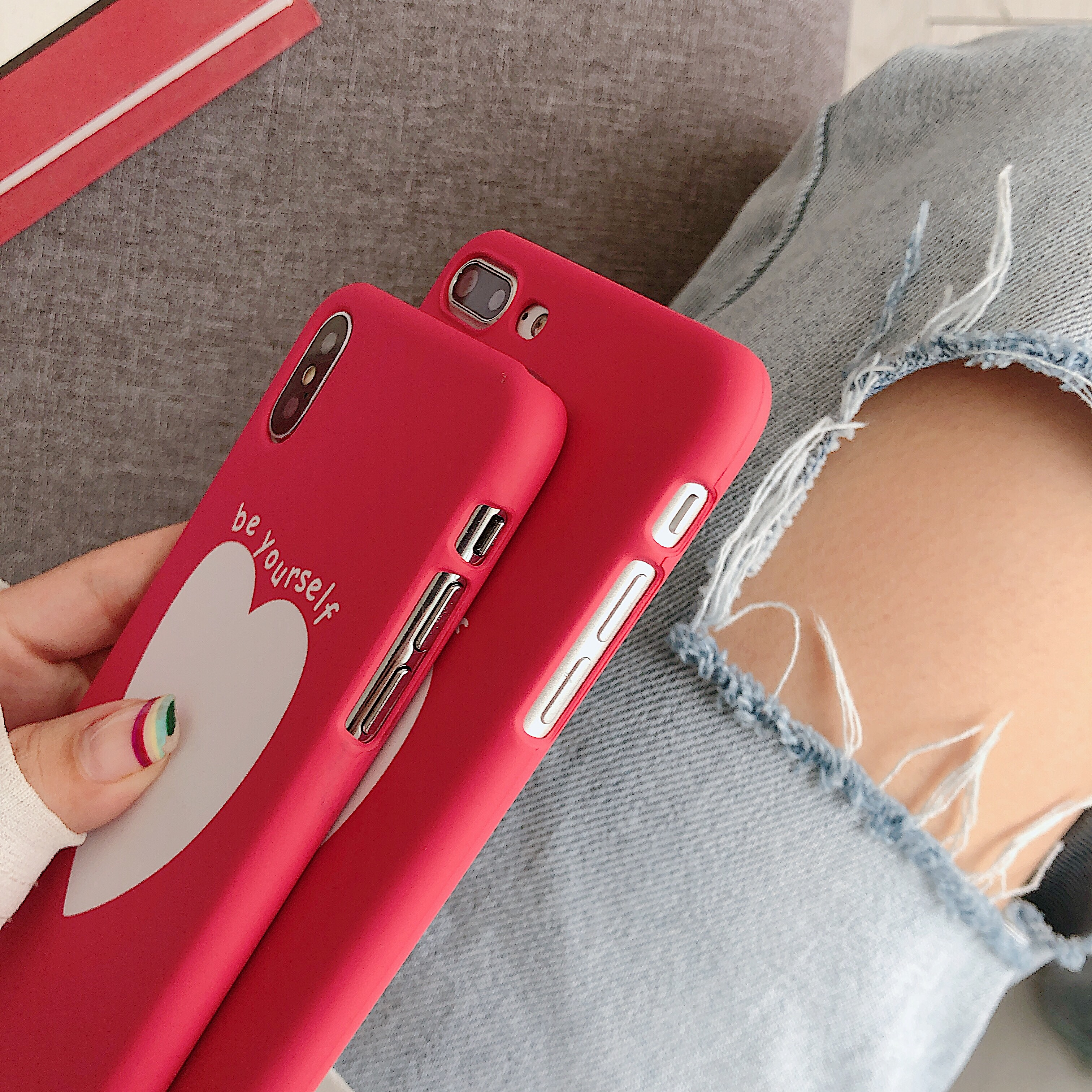 Image 4 - Phone Bag Case Accessories For iPhone X XR XS MAX 6 6s 7 8Plus Luxury Couple Love Heart Eyes Print Fashion Back Cover Capa Coque-in Half-wrapped Cases from Cellphones & Telecommunications