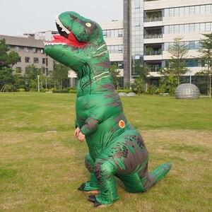 Image 3 - Disfraz de dinosaurio T REX Velociraptor para adultos y niños, Cosplay de Anime de fantasía, Raptor de dinosaurio inflable, Disfraces de Halloween para mujeres
