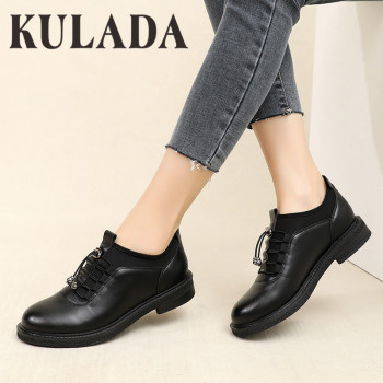 KULADA Women Patent Leather Loafers Flats Shoes Fashion Spring Autumn New Girls Oxford Female Casual Elastic Band