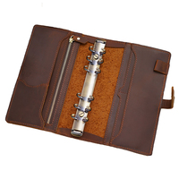 MatoTu A6 A5 Leather Binder Spiral Notebook Organizer Ring Binder Planner Handmade 80 Sheets with UsefulTools