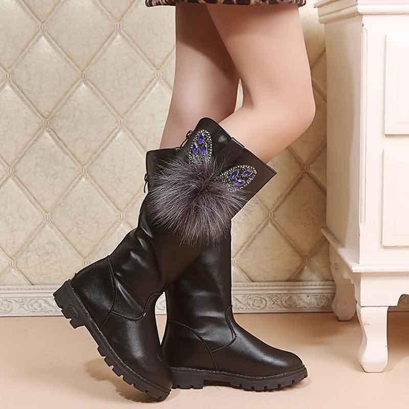 Di Cuoio DELL'UNITÀ di elaborazione Stivali Lunghi per la Principessa Delle Ragazze Studenti di Strass Piatto Pom Stivali di Design Anti-skid Suola In Gomma Studenti Inverno scarpe 1