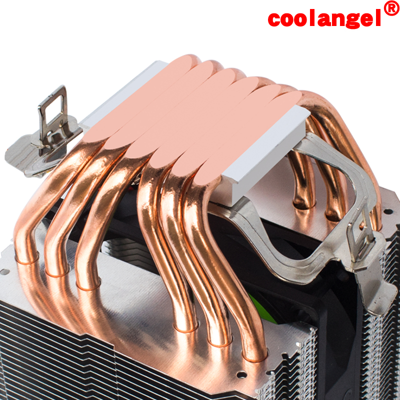 coolangel 6 Heat Pipes CPU Cooler 4 Pin PWM RGB PC quiet Intel LGA 2011 775 1200 1150 1151 1155 AMD AM3 AM4 90mm CPU Cooling Fan 1